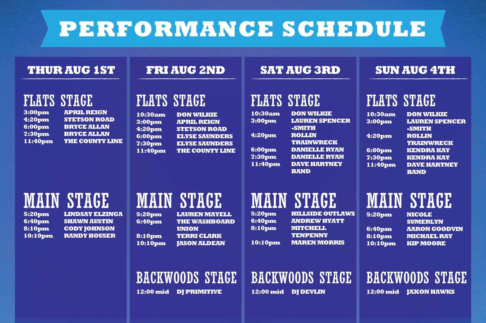 Main Stage Schedule